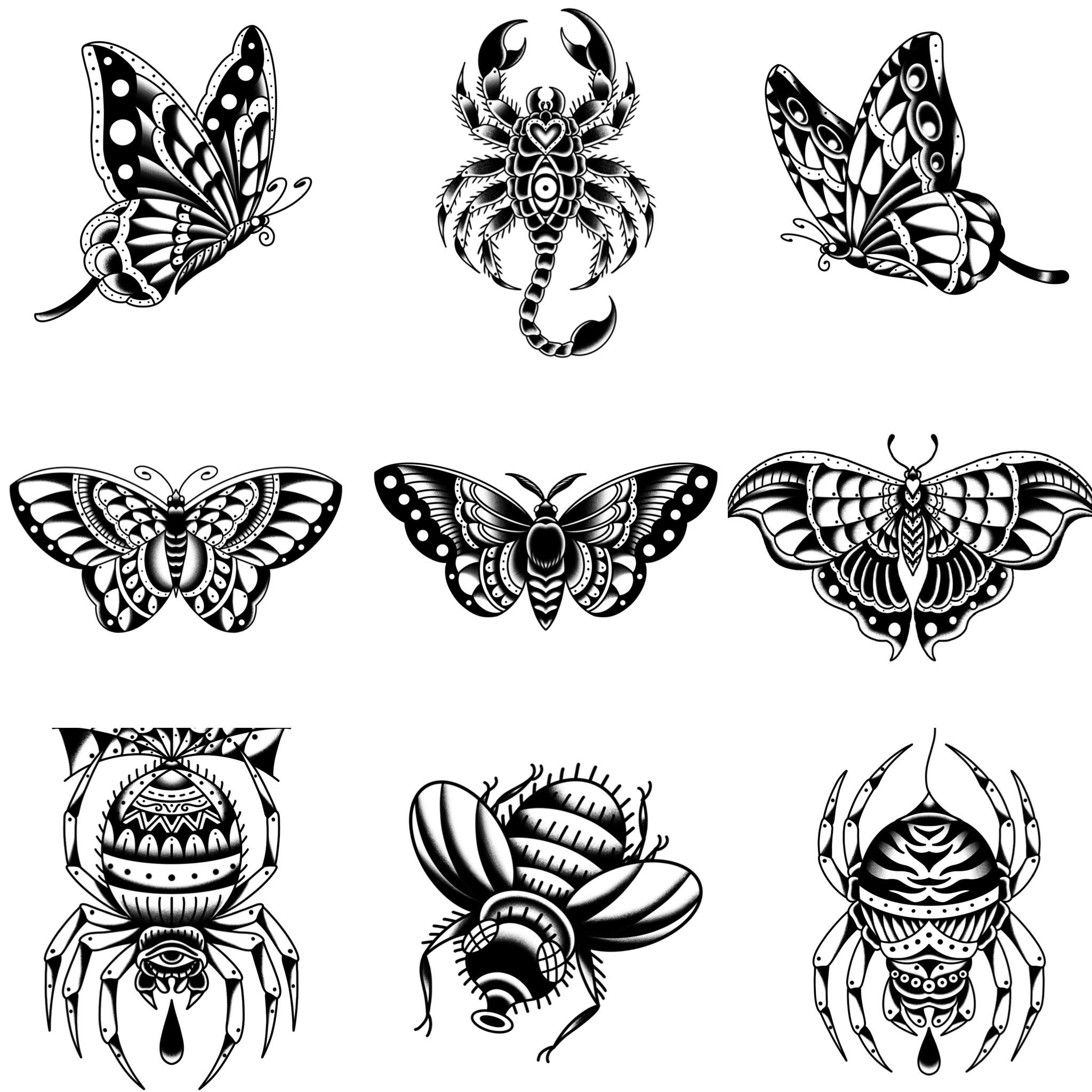 ブラックトラディショナル トラディショナルの昆虫デザイン タトゥーデザイン トラディショナル 《東京タトゥースタジオ》