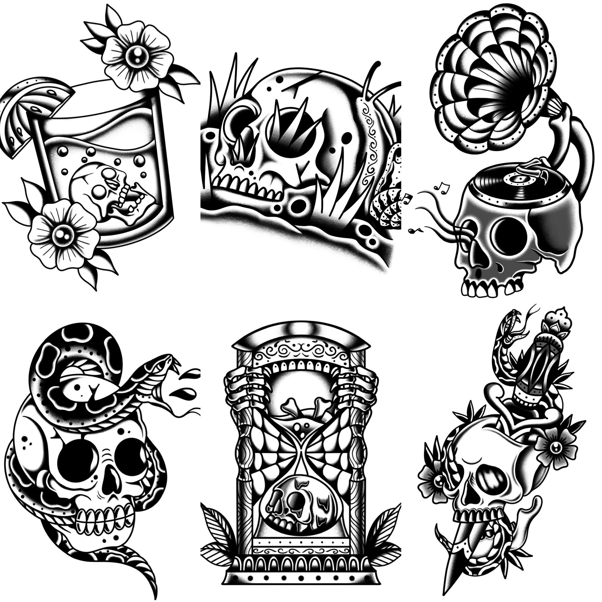 ブラックトラディショナル トラディショナル定番のスカルデザイン タトゥーデザイン トラディショナル 《東京タトゥースタジオ》
