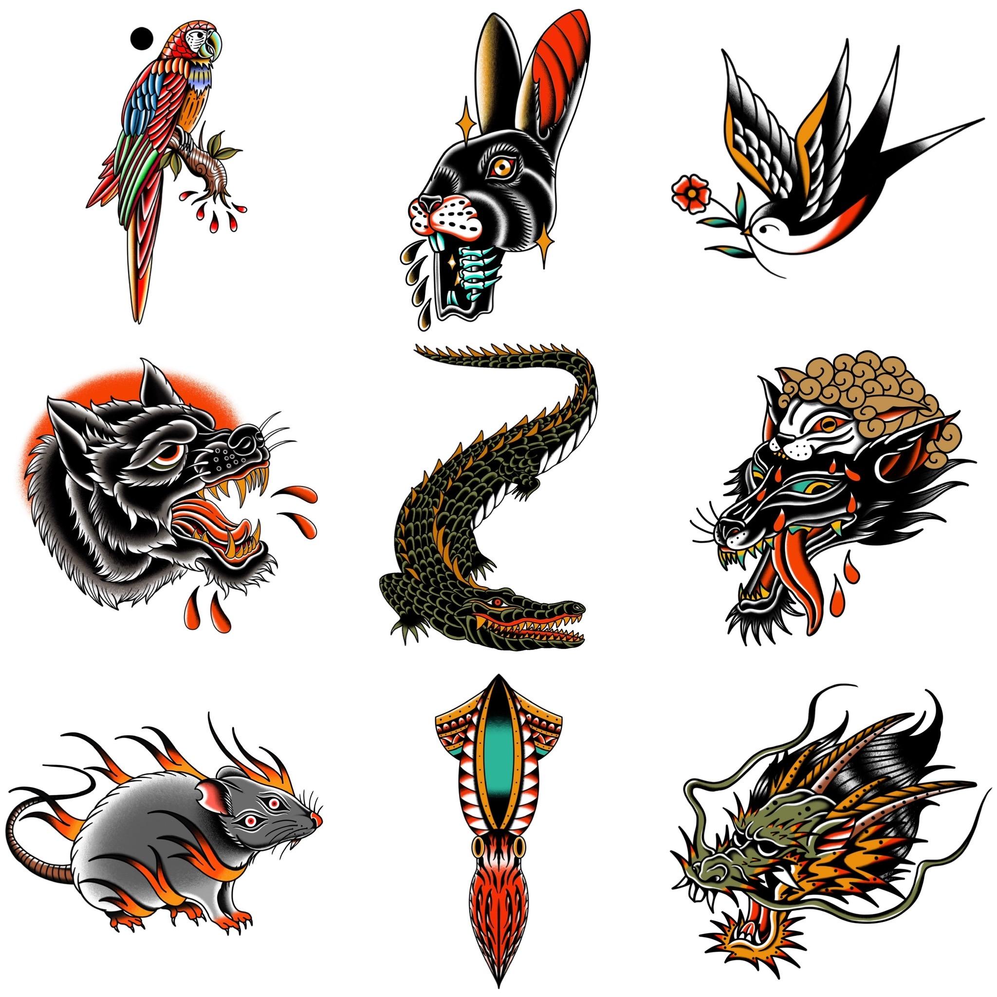 生物系のトラディショナルデザイン タトゥーデザイン トラディショナル 《東京タトゥースタジオ》