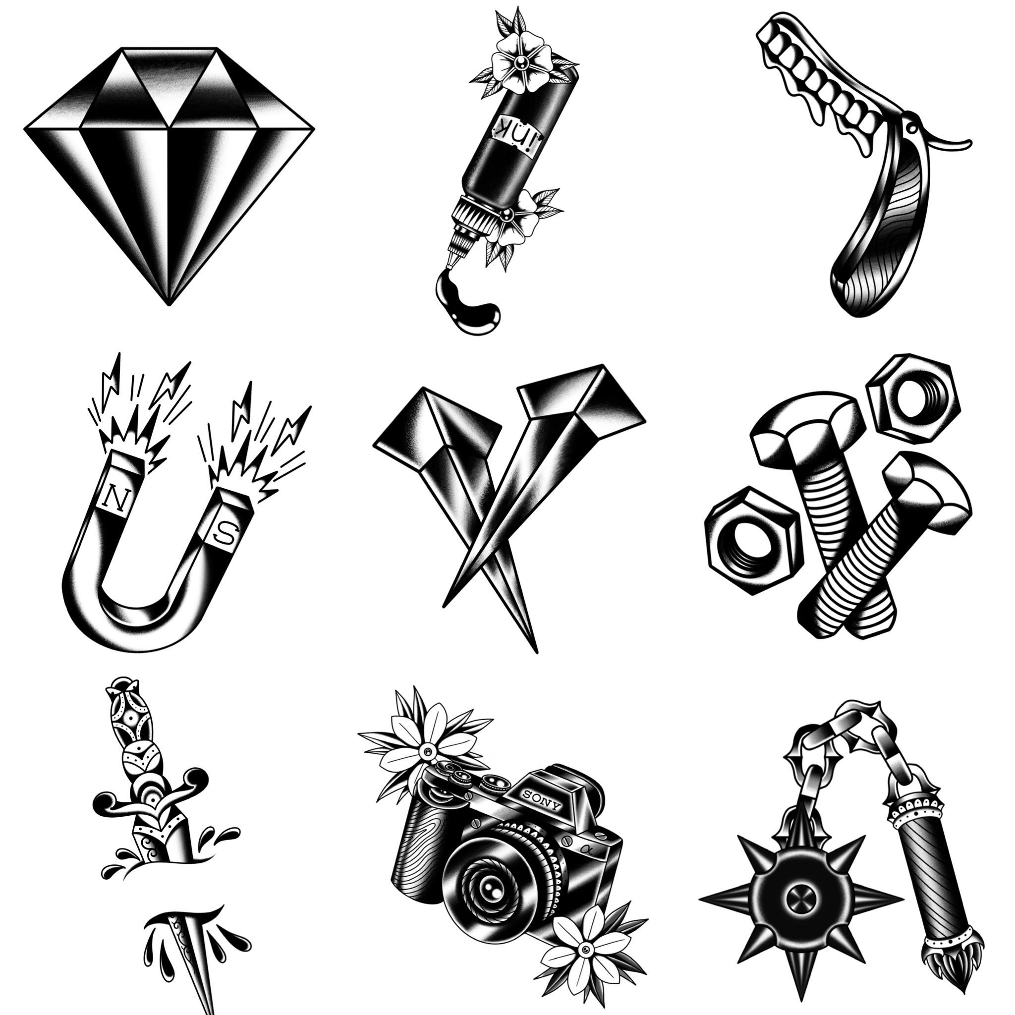 ブラックトラディショナル アイデアの効いたデザイン タトゥーデザイン トラディショナル 《東京タトゥースタジオ》