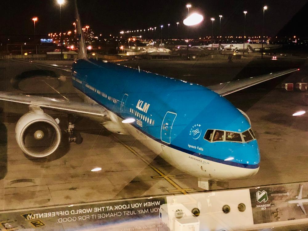 Het KLM vliegtuig dat ons weer naar huis gaat brengen.