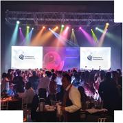 dj para fiestas empresariales, con iluminación y  pantallas de leds