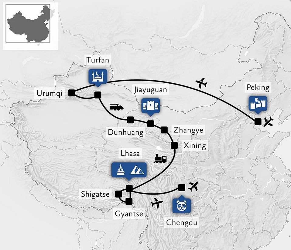 Unsere geplante Reiseroute durch China - Zum Abschluß Hainan! (Quelle China Tours)