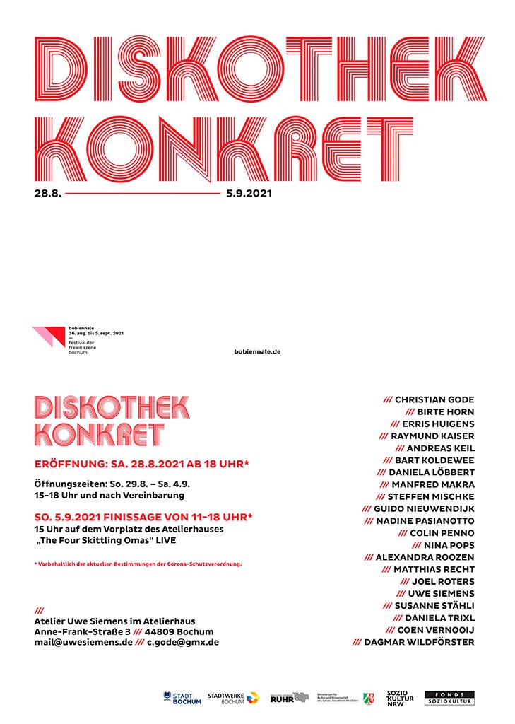Einladung, Diskothek Konkret, Ausstellung, Bobiennale, Andreas Keil, Bochum, 2021