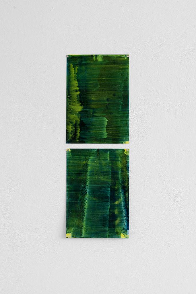 Andreas Keil, Malerei, O.T., 2020, Öl auf Transparentpapie, Installation, Atelieransicht, KunstWerk, Köln