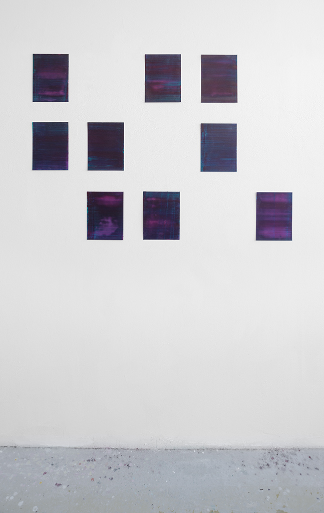 Andreas Keil, Malerei, O.T., 2020, Öl auf  Papier, Installation, Atelieransicht, KunstWerk, Köln