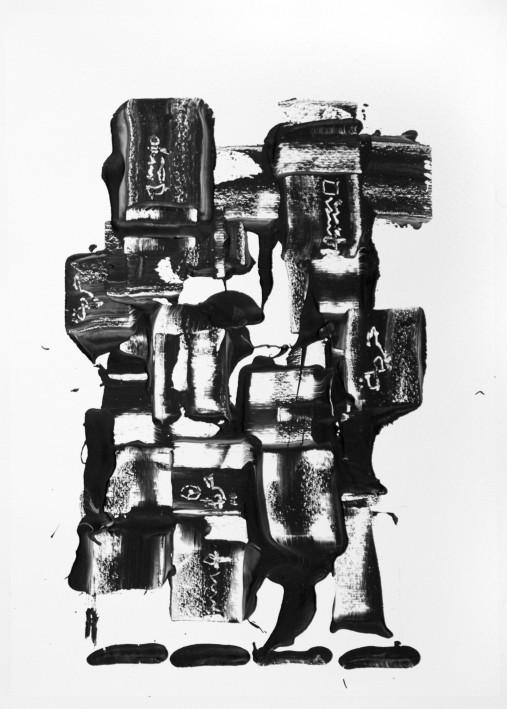 Karima Badr - Fragment - Acryl auf Papier, 30 x 40 cm, 2011