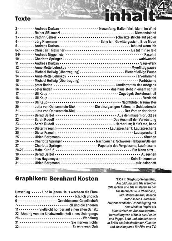 Inhaltsverzeichnis Nummer 4