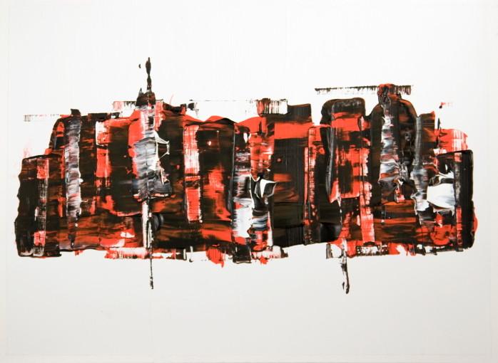 Karima Badr -skyline II - Acryl auf Papier, 50 x 65 cm, 2011