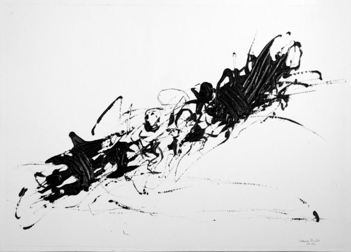Karima Badr - Explosion - Acryl auf Papier, 30 x 40 cm, 2012