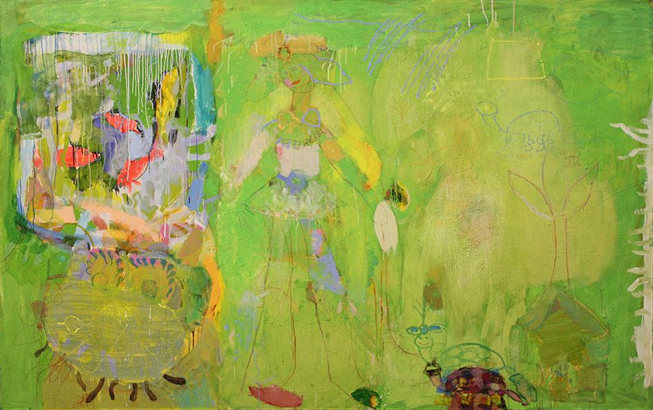 © Ramin Nafikov - Mädchen und Schildkröte - 160x250cm-Öl auf Leinwand-2009