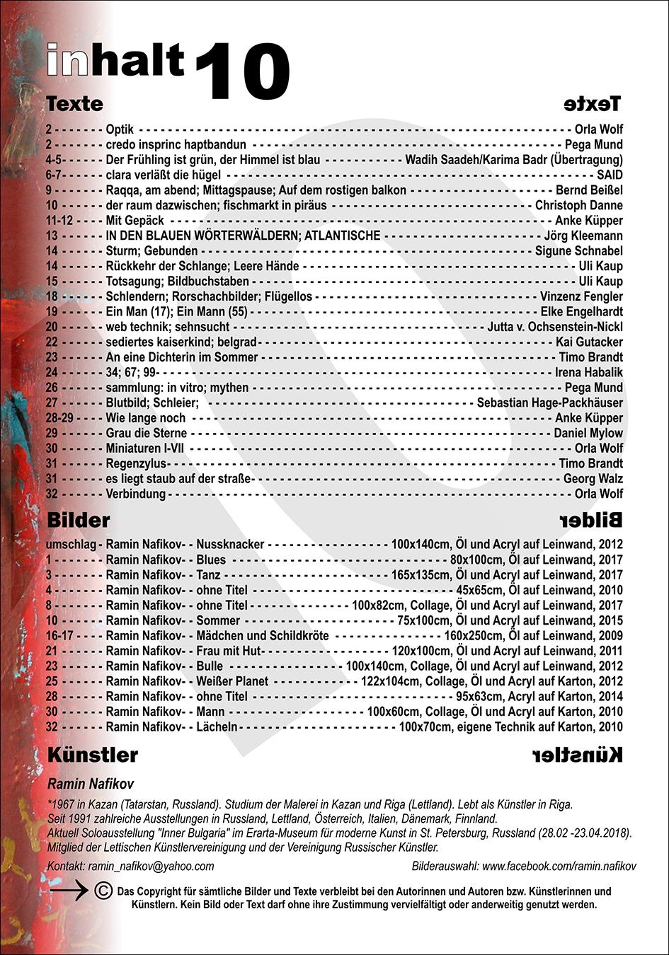 Inhaltsverzeichnis Nr. 10