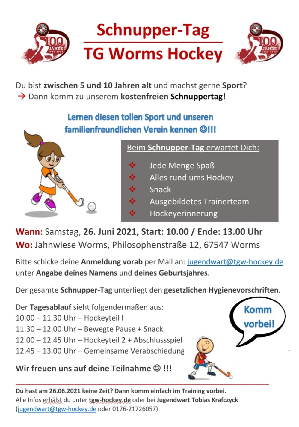 Schnuppertag TG Worms Hockey