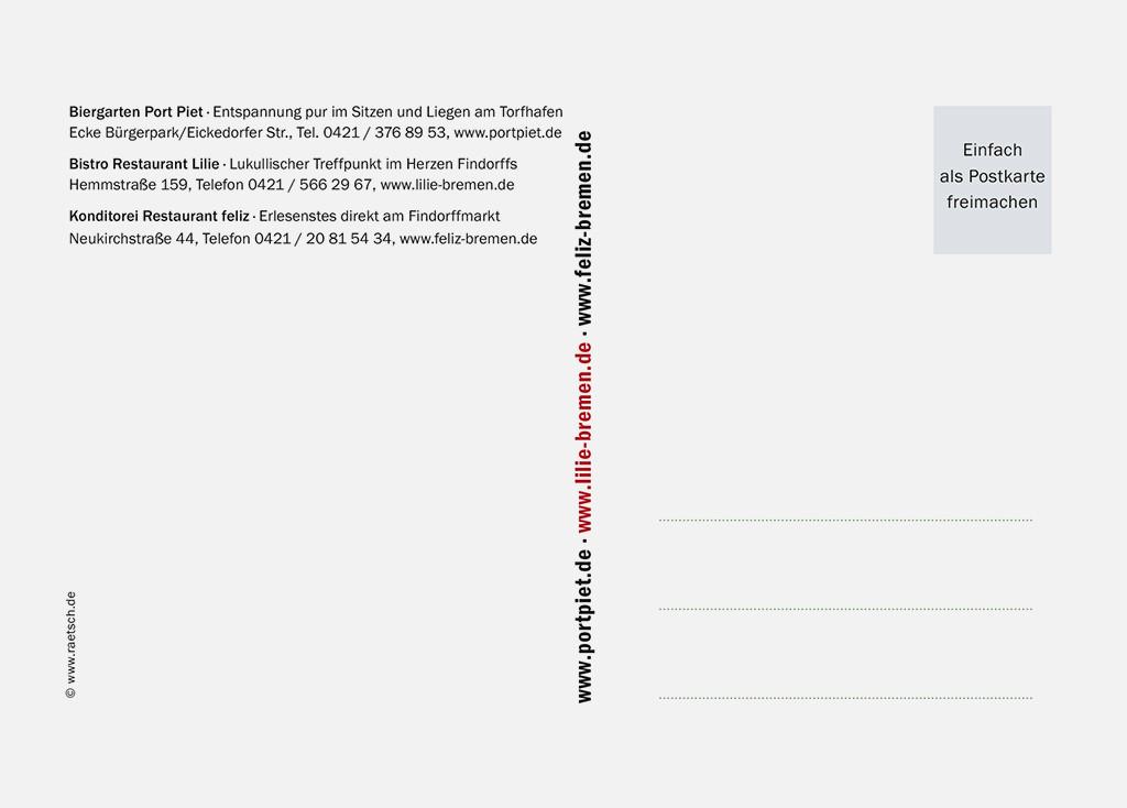 Die 2. Postkarten-Edition · Sponsor: feliz, Lilie und Port Piet. Vielen Dank!