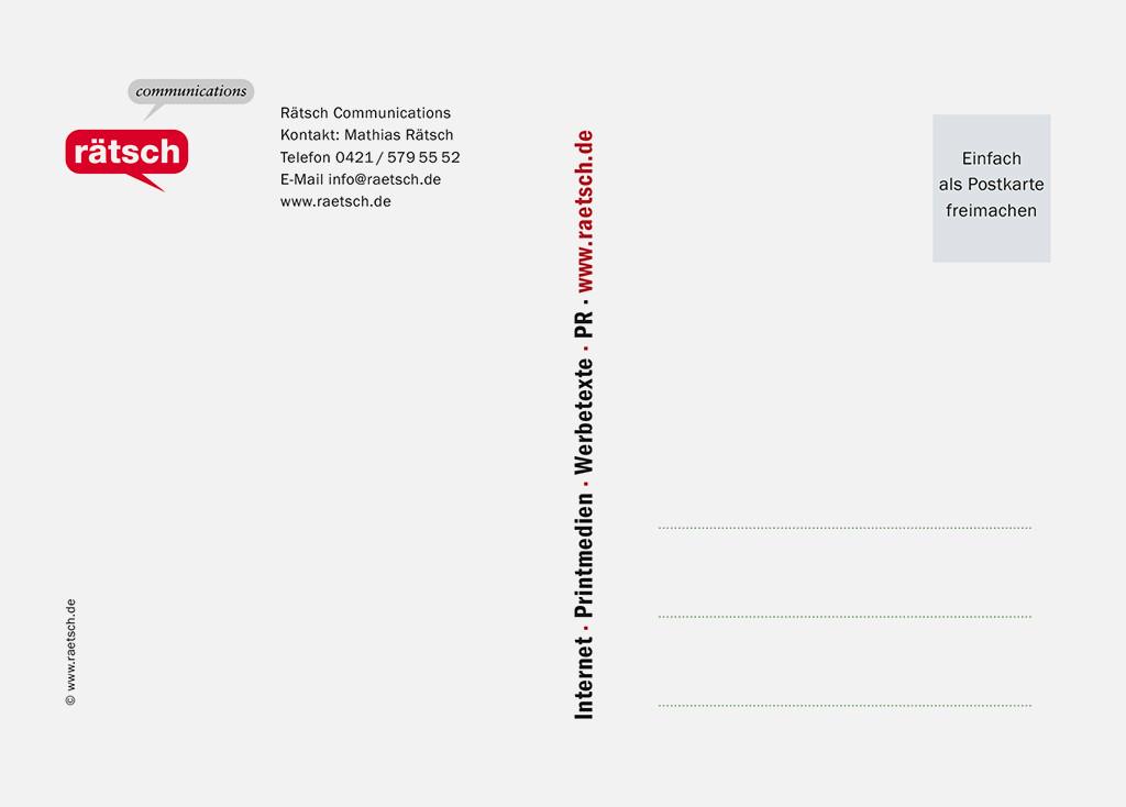 Die 1. Postkarten-Edition · Sponsor: Rätsch Communications. Vielen Dank!