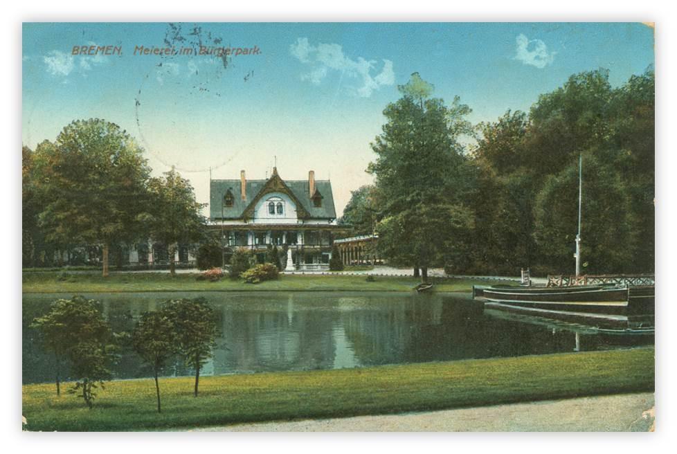Bootsanleger  am Meiereisee mit Marie Postkarte 1914 gestempelt