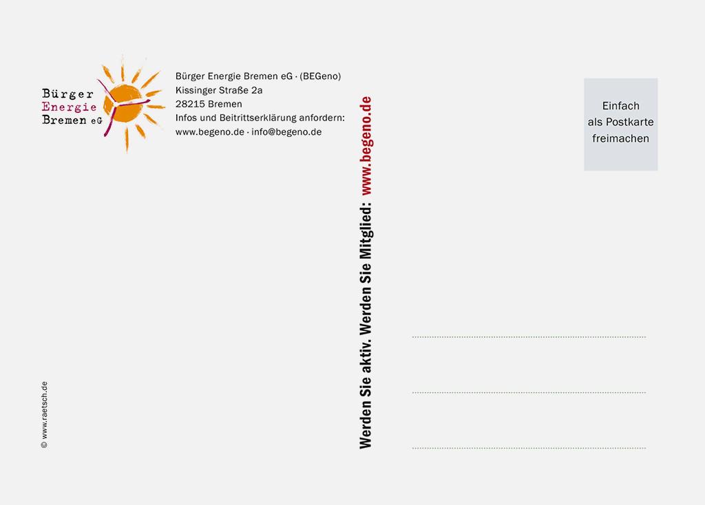 Die 1. Postkarten-Edition · Sponsor: Bürger Energie Bremen eG (BEGeno). Vielen Dank!