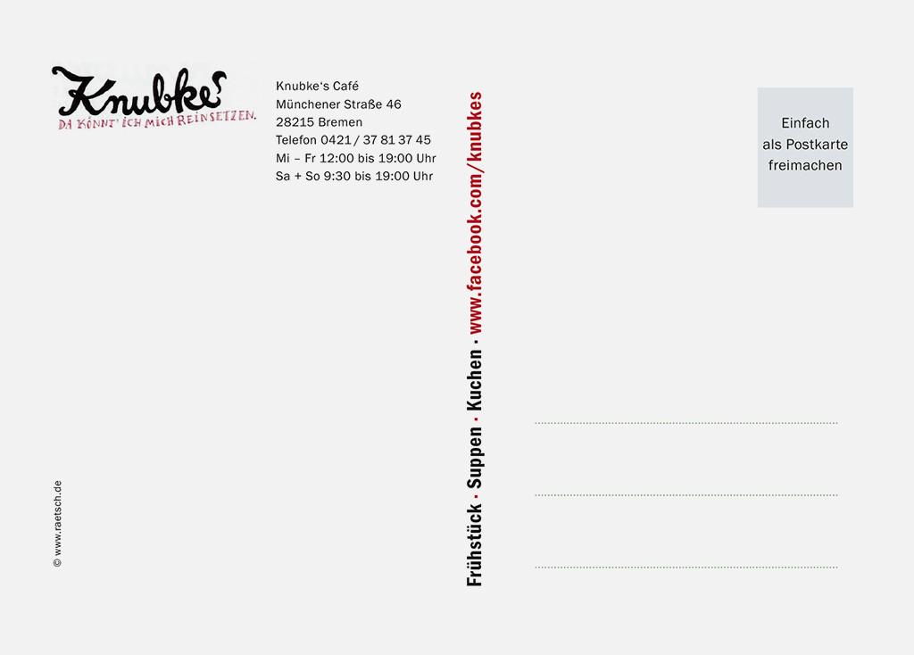 Die 1. Postkarten-Edition · Sponsor: Knubkes Café. Vielen Dank!
