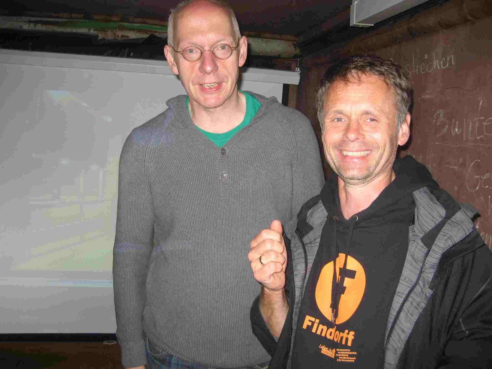 Der Landesvorsitzende der GRÜNEN, Ralph Saxe zu Gast beim Tunnelblick, rechts Ulf Jacob (LiF).