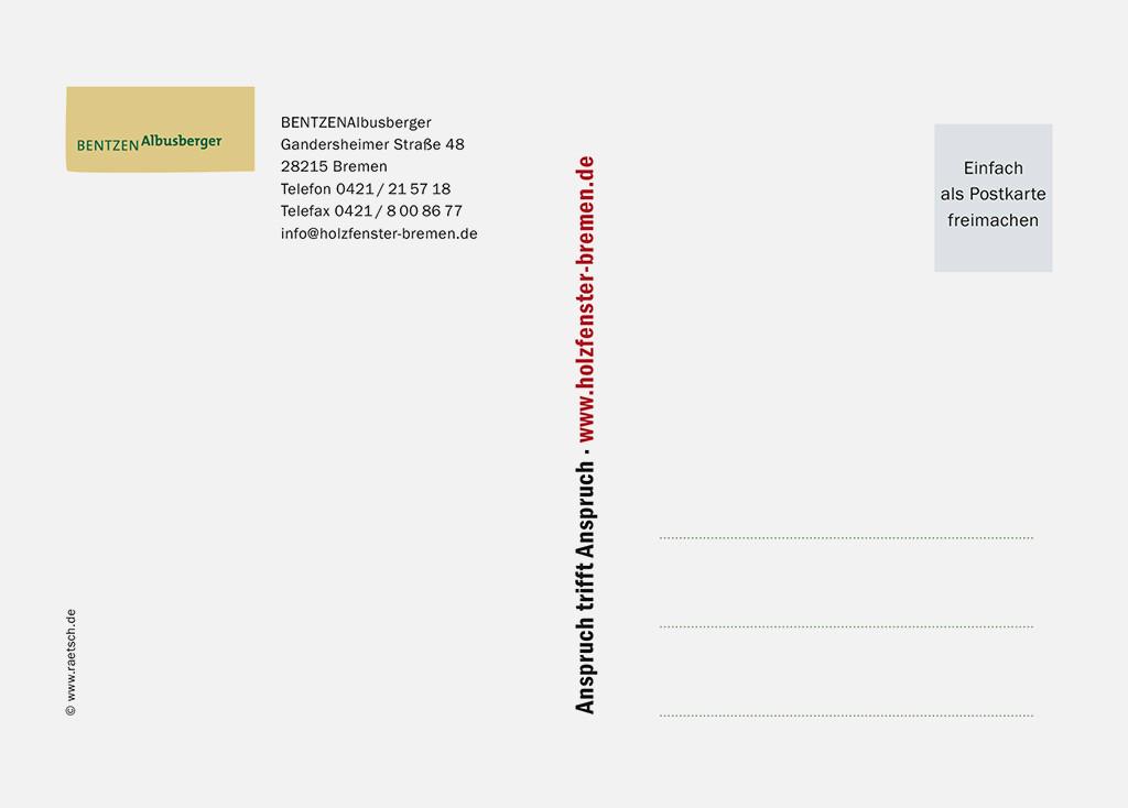 Die 1. Postkarten-Edition · Sponsor: BENTZENAlbusberger. Vielen Dank!