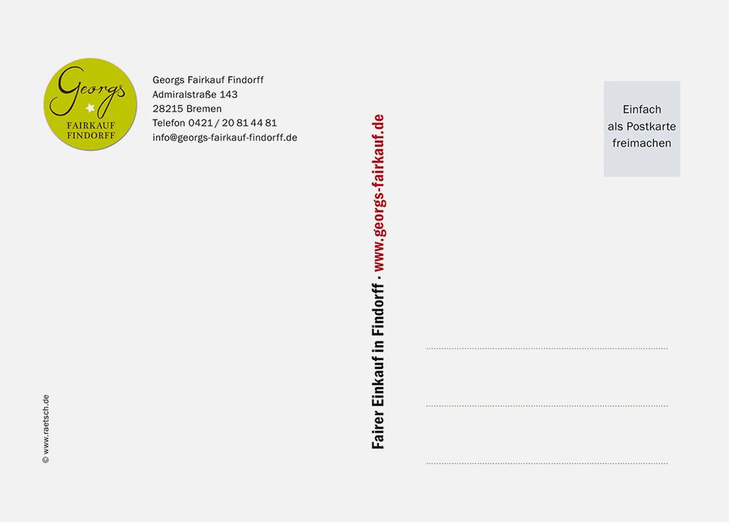 Die 1. Postkarten-Edition · Sponsor: Georgs Fairkauf Findorff. Vielen Dank!