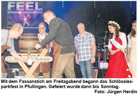 Fassanstich beim Schlösslesparkfest in Pfullingen 2018