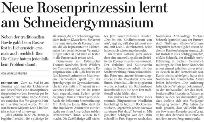 Freie Presse 12.06.2018 Rosenfest in Lichtenstein