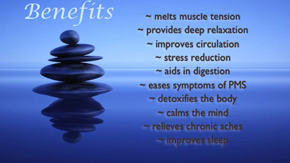 A harmonious blue image with a creative pile of stones and a list of the benefits of Hawaiian hot Stone massage,