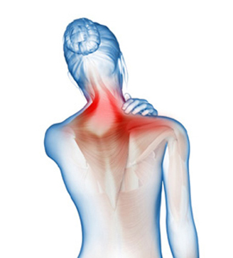 A blue torso image indicating pain on the shoulder area with red patches.