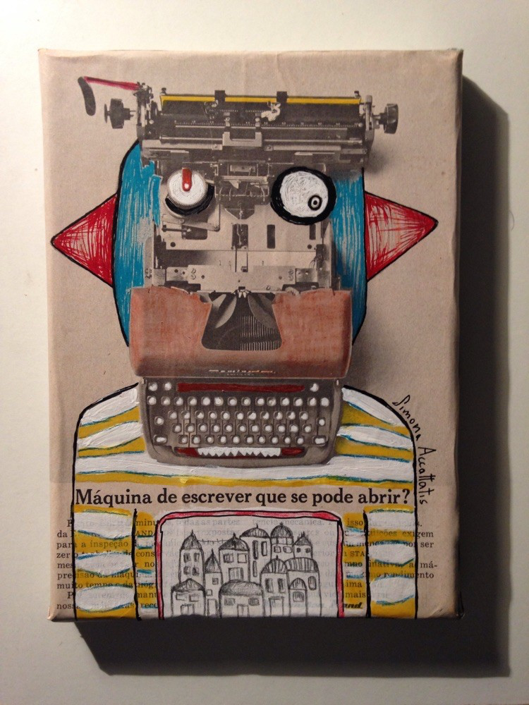 Type write machine robot, pencil color and acrilic, size 20 X 18 cm. Only print available for 20€