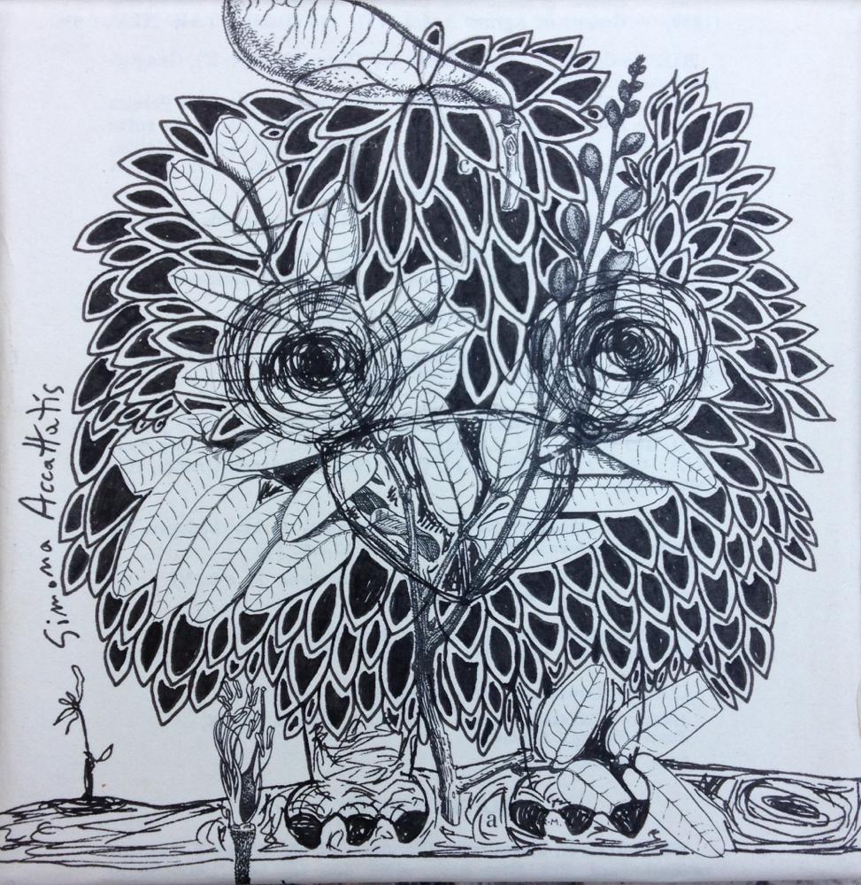 BIRD, colage on canavas