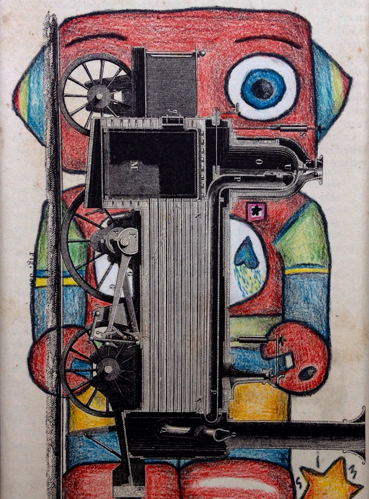 Robot train, colage and color pencil on old book pages, size 15 X 10 cm. Only print available for 20€