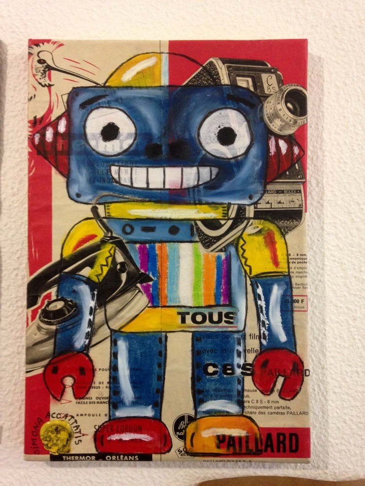 My Robot in New York. Pastel oil on paper on canava