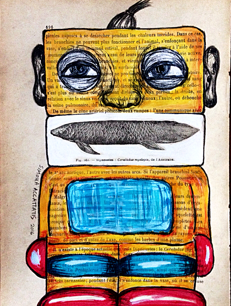 SUSHI-ROBOT, aguarel, pencil and colage on old book pages. Size 20 X 18 cm. Price: 40€. Only print available for 20€