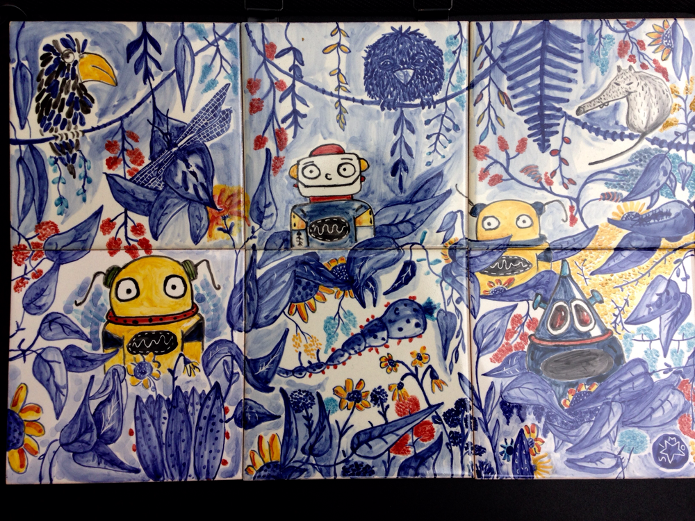 Jungle summer robots, 45x30 cm. Price 150€