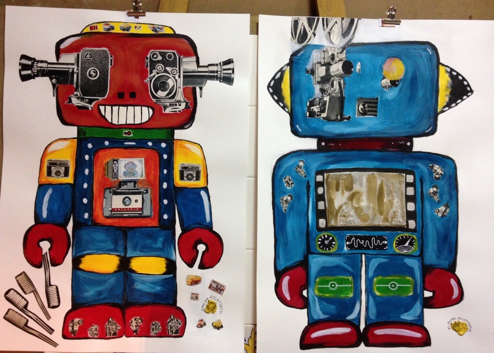ROBOTS on paper, acrilic and colage, ink size 70x50. Price: 150€. Only print available for 20€