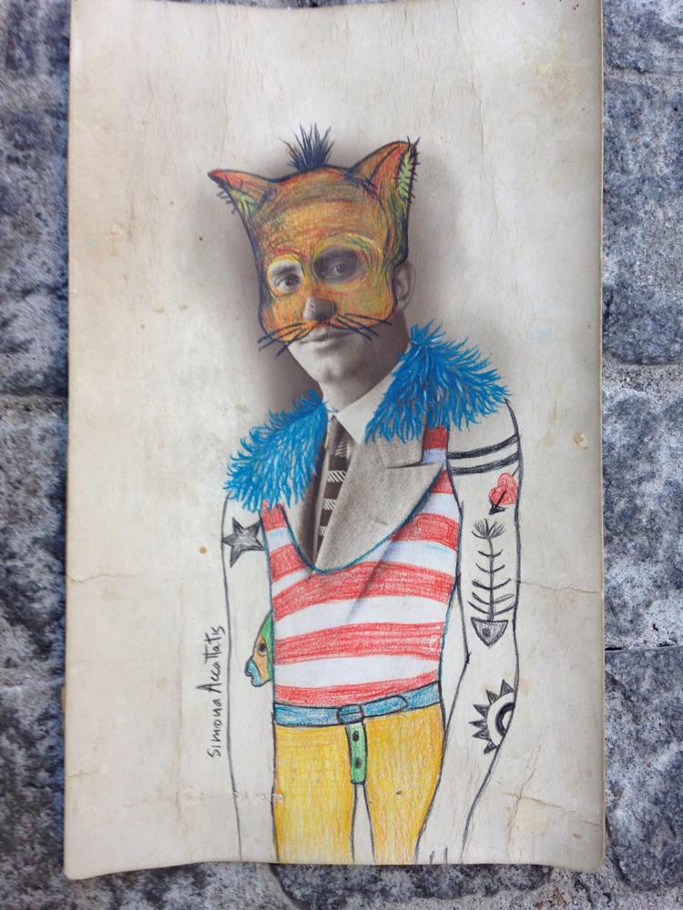 Cat man, photo and pencil