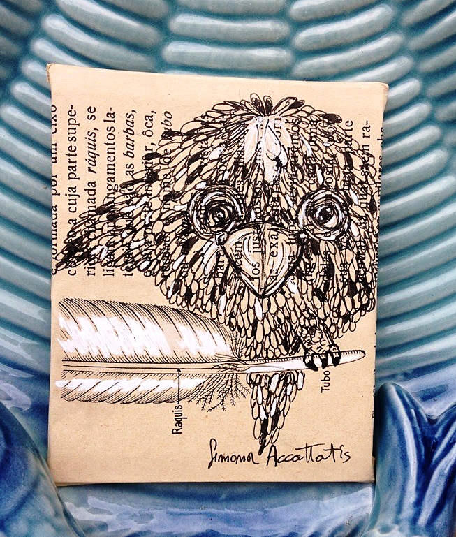 Bird , miniature, pen, 8 X 10 cm. Price: 15€