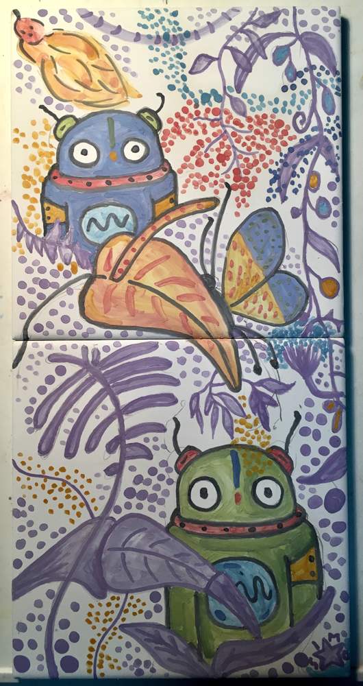Indians Robots in the Jungle, tiles. 14x28cm . With Love