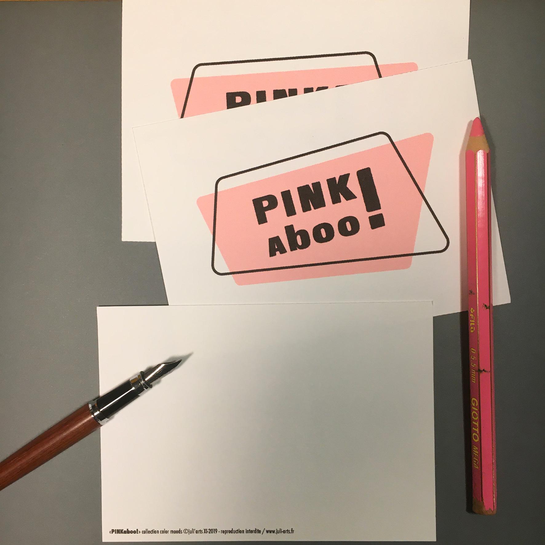 """""""Color Moods PINKaboo!"""" Carte  10x14 cm + enveloppe blanche / 2,50€ pièce hors fdp / 4 derniers exemplaires!"""
