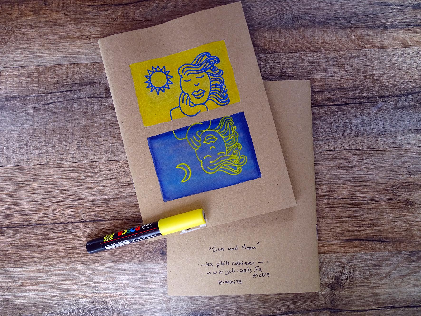 """""""Sun & Moon"""" Carnet A5 22 pages kraft / Illustration aquarelle + feutre acrylique / 9€ pièce hors fdp / 3 derniers exemplaires!"""