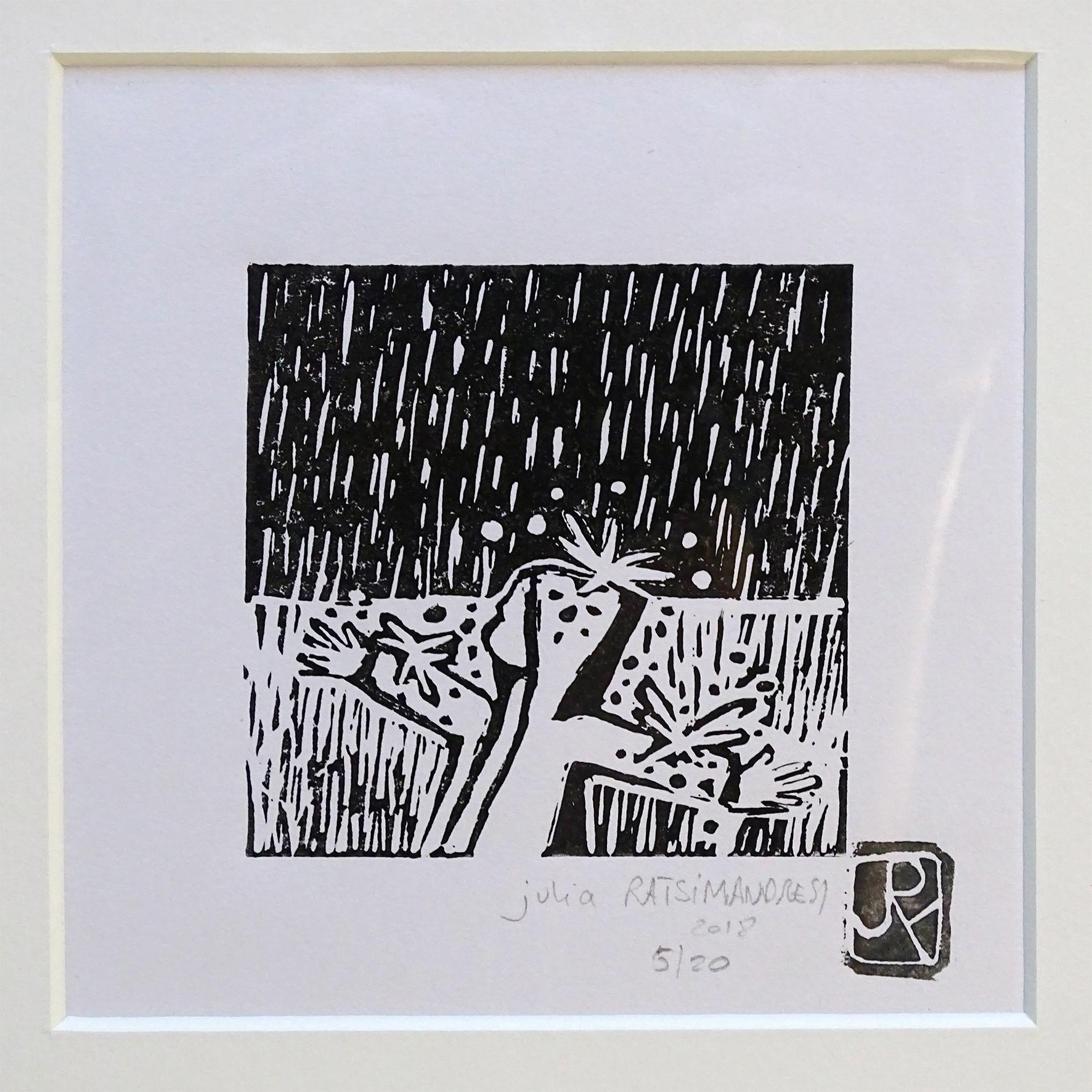 """""""Vive la pluie II"""" ©Julia Ratsimandresy / Linogravure encre noire sur papier, tirage 5/20 signée / 50€ hors fdp"""