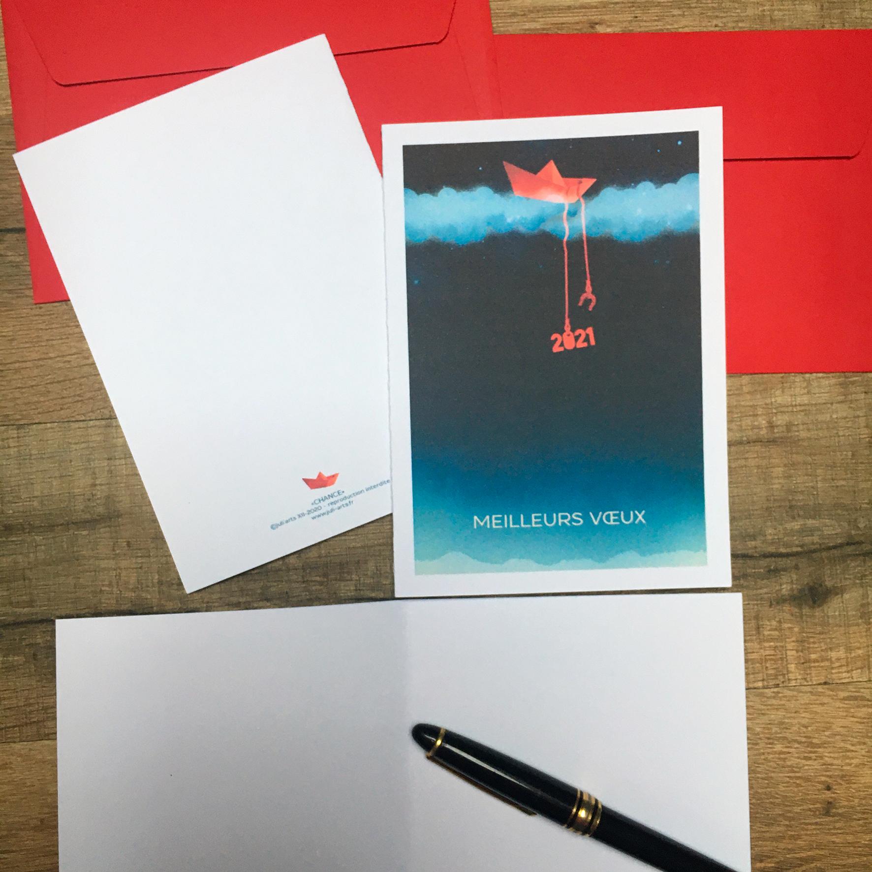 """""""Chance"""" Carte de vœux double 11x15,5 cm + enveloppe assortie / 6€ le lot de 2 hors fdp / 2 derniers lots!"""