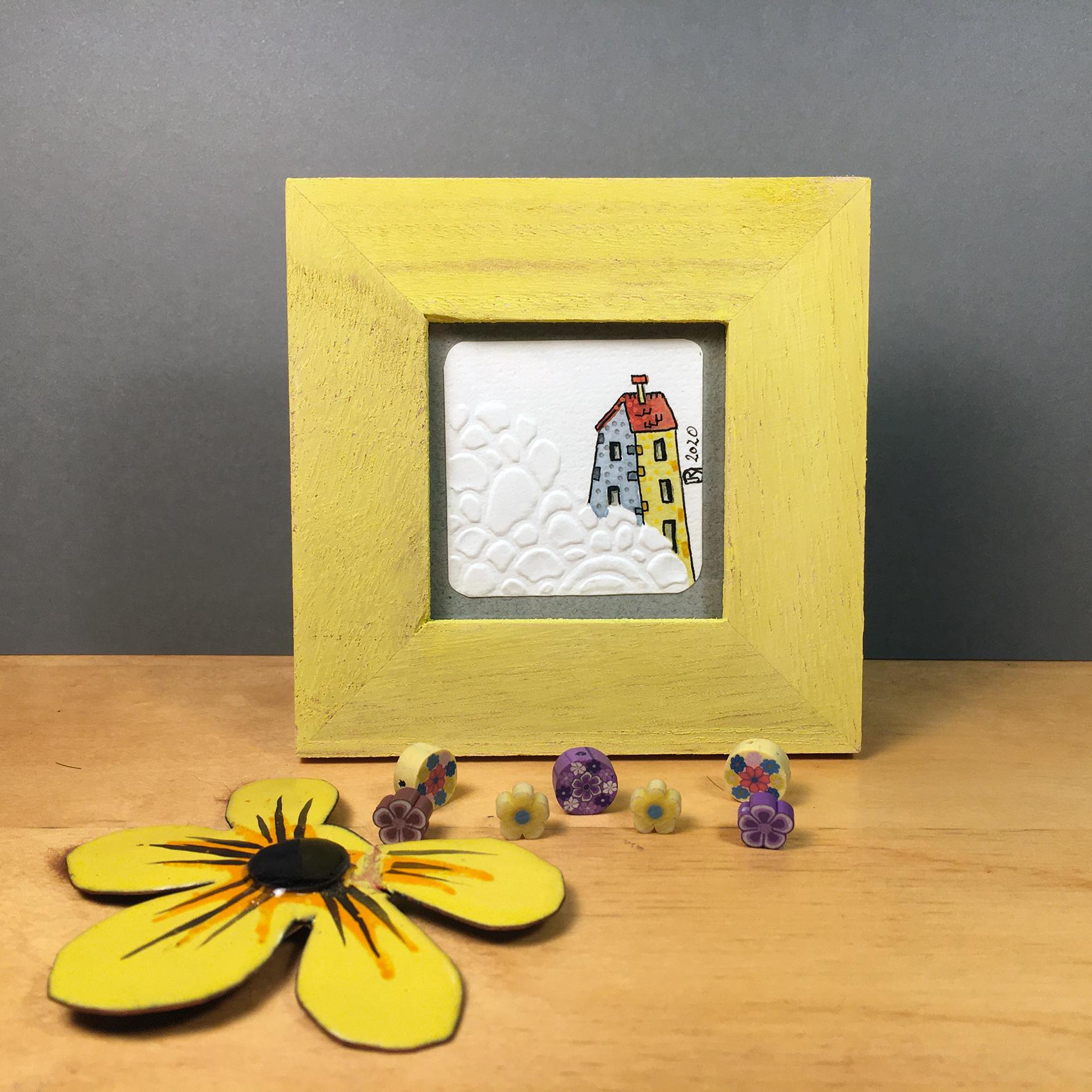 """Là-Haut"" ©Julia Ratsimandresy / Mini-aquarelle encadrée / Cadre bois jaune+verre 10x10 cm / 15€ hors fdp /Exemplaire unique!"