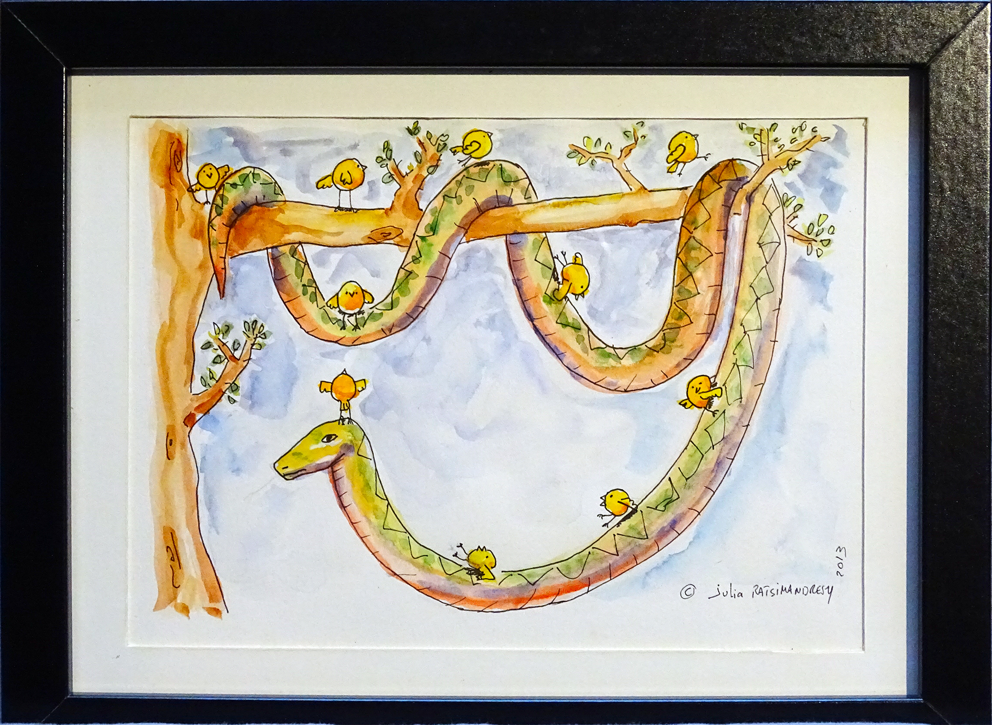 """""""Glissades"""" ©Julia Ratsimandresy / Aquarelle originale encadrée / Cadre bois noir+verre 26,5x20,5 cm / 40€ hors fdp /Exemplaire unique!"""
