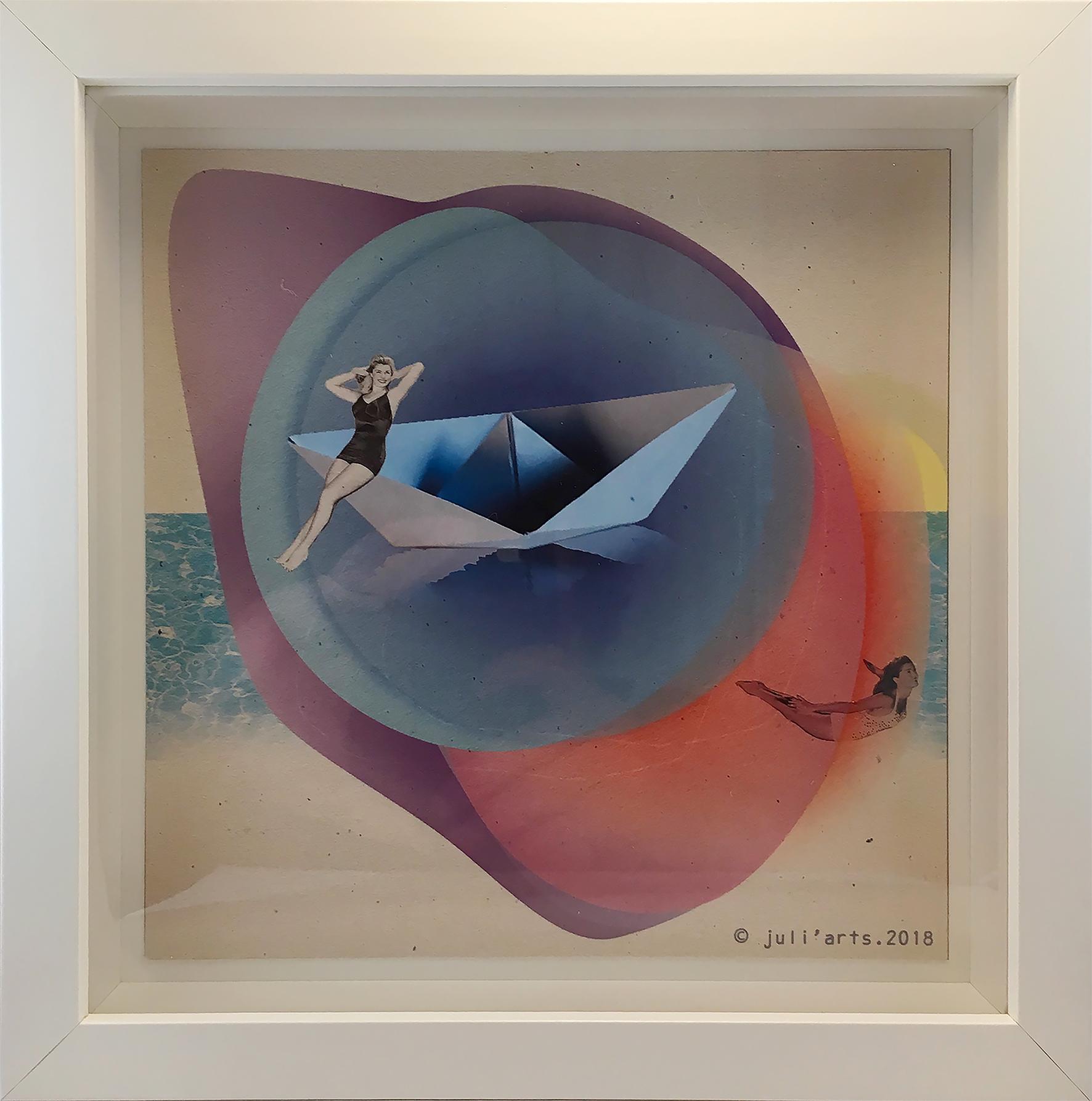 """""""Mermaids"""" ©Julia Ratsimandresy / Collage numérique encadré / Cadre bois+verre 23x23 cm / 30€ hors fdp / Dernier exemplaire!"""
