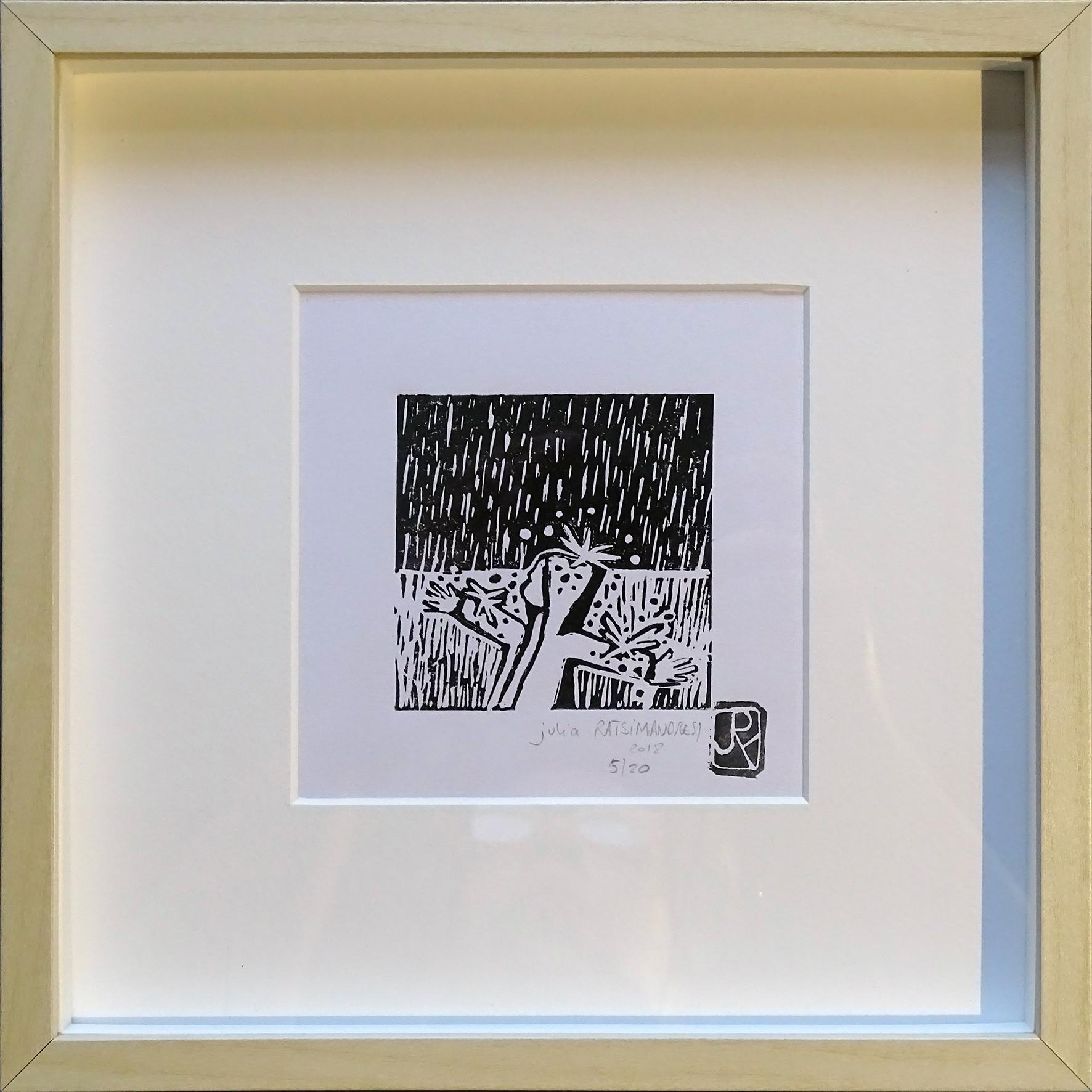 """""""Vive la pluie II"""" ©Julia Ratsimandresy / Linogravure encadrée / Cadre couleur bois+faux verre 25x25 cm / 50€ hors fdp / Dernier exemplaire!"""