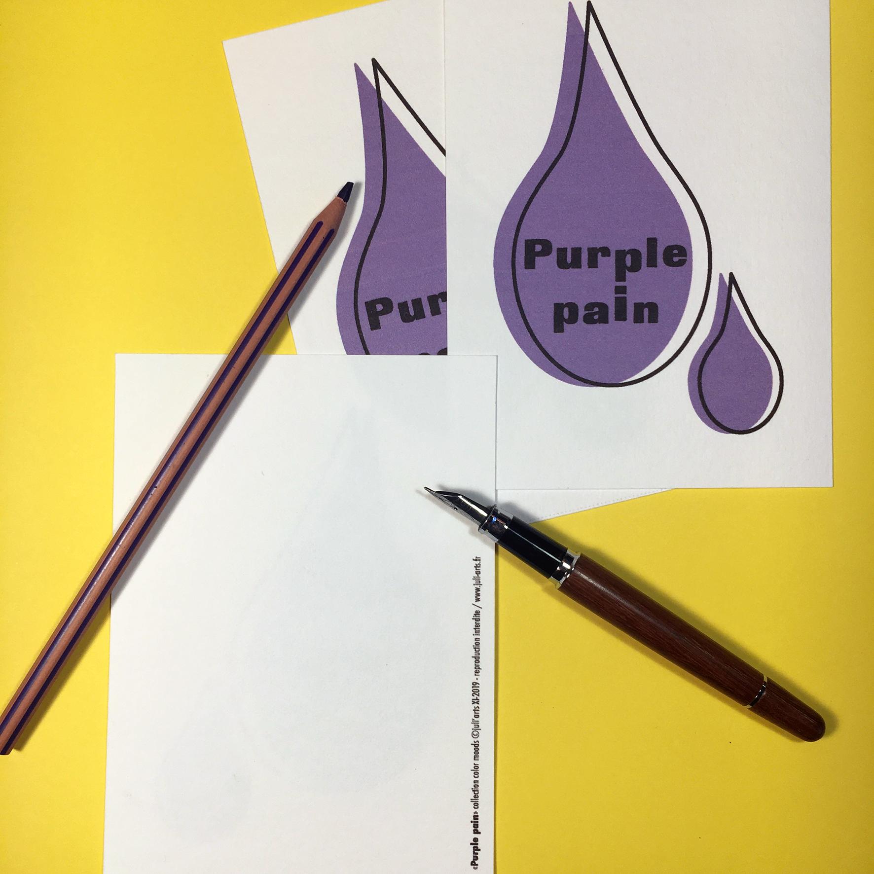 """""""Color Moods Purple pain"""" Carte  10x14 cm + enveloppe blanche / 2,50€ pièce hors fdp / 4 derniers exemplaires!"""