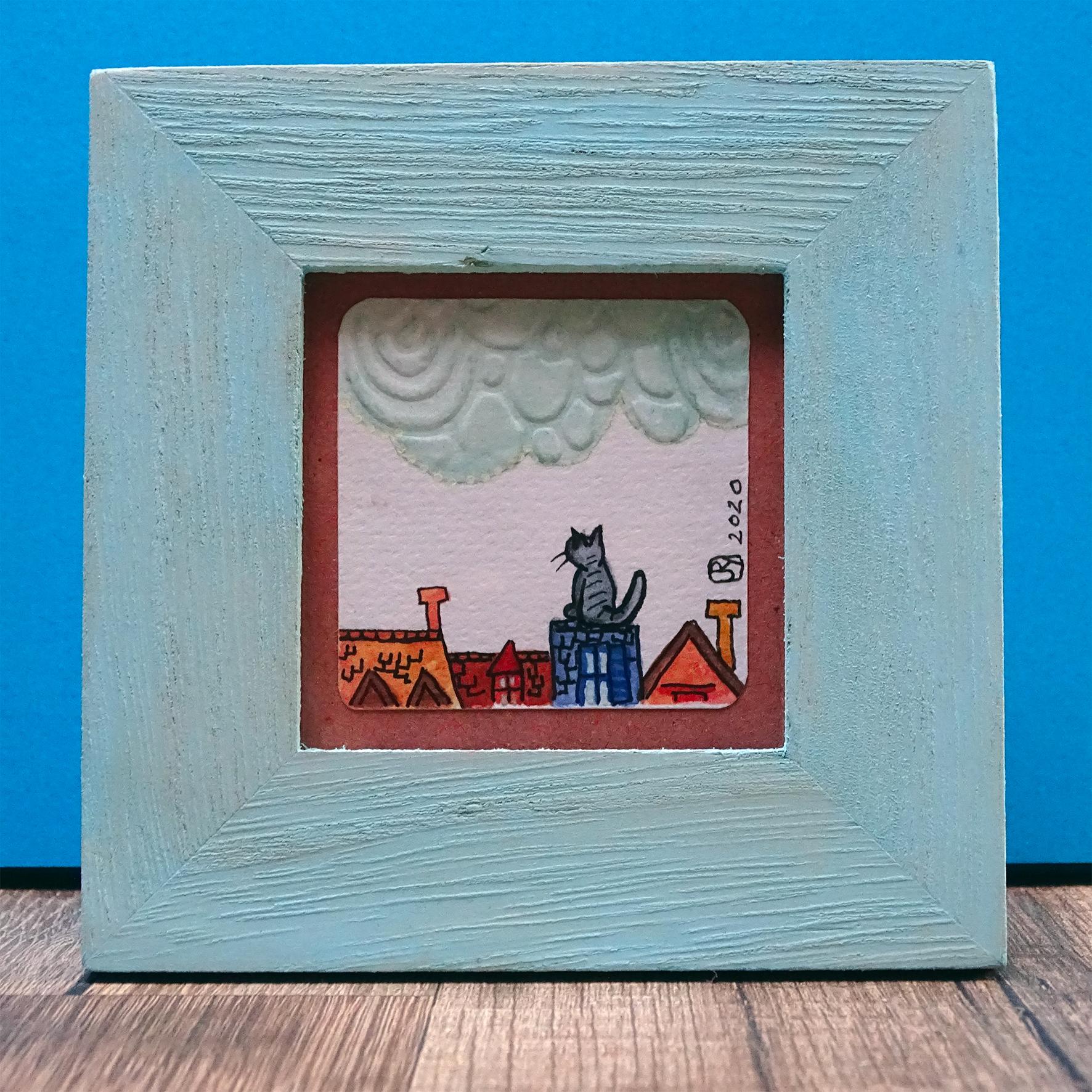 """Par dessus les toits 2"" ©Julia Ratsimandresy / Mini-aquarelle encadrée / Cadre bois bleu+verre 10x10 cm / 15€ hors fdp /Exemplaire unique!"