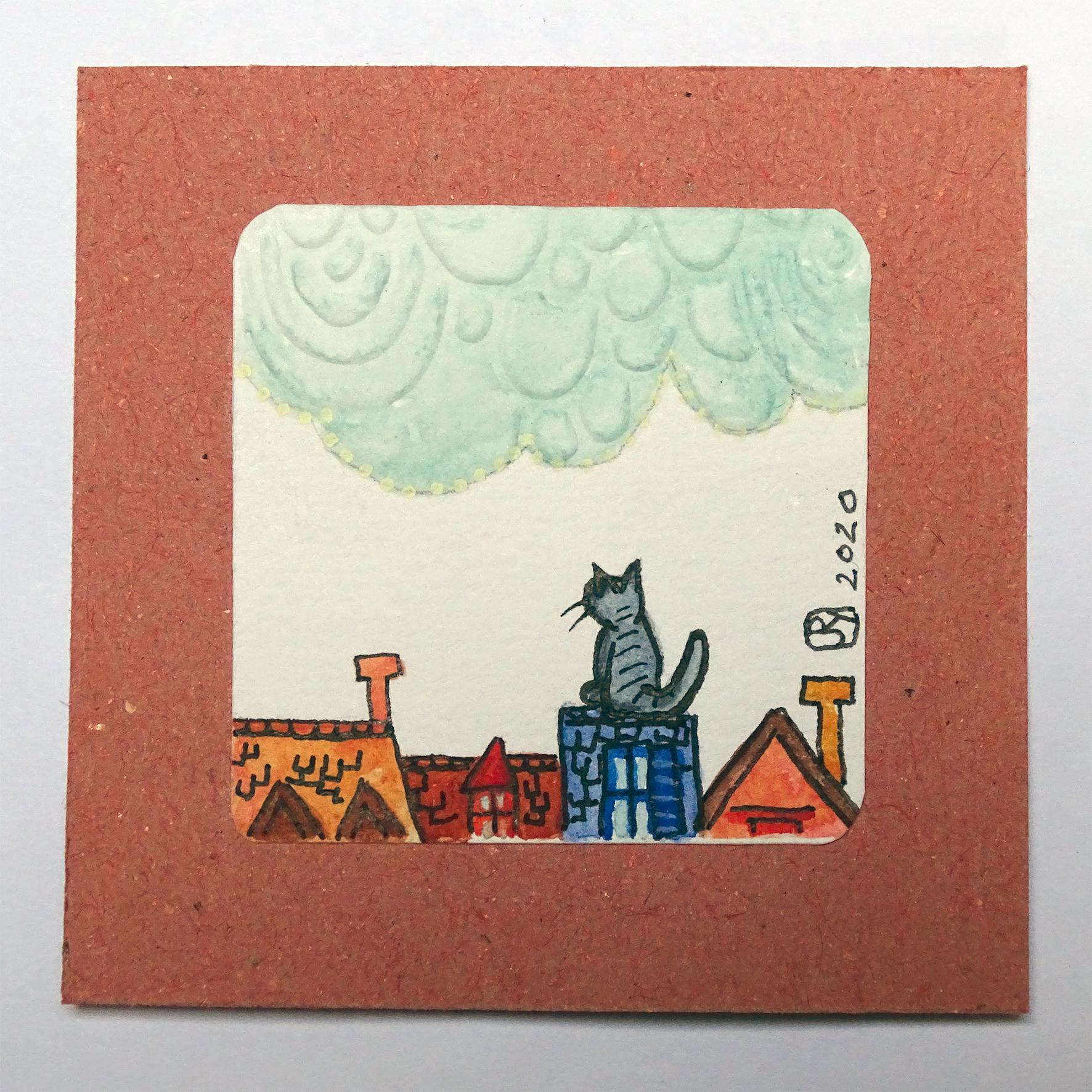 """""""Par dessus les toits 1"""" Détail / Mini-aquarelle+embossage à froid / 15€ hors fdp"""